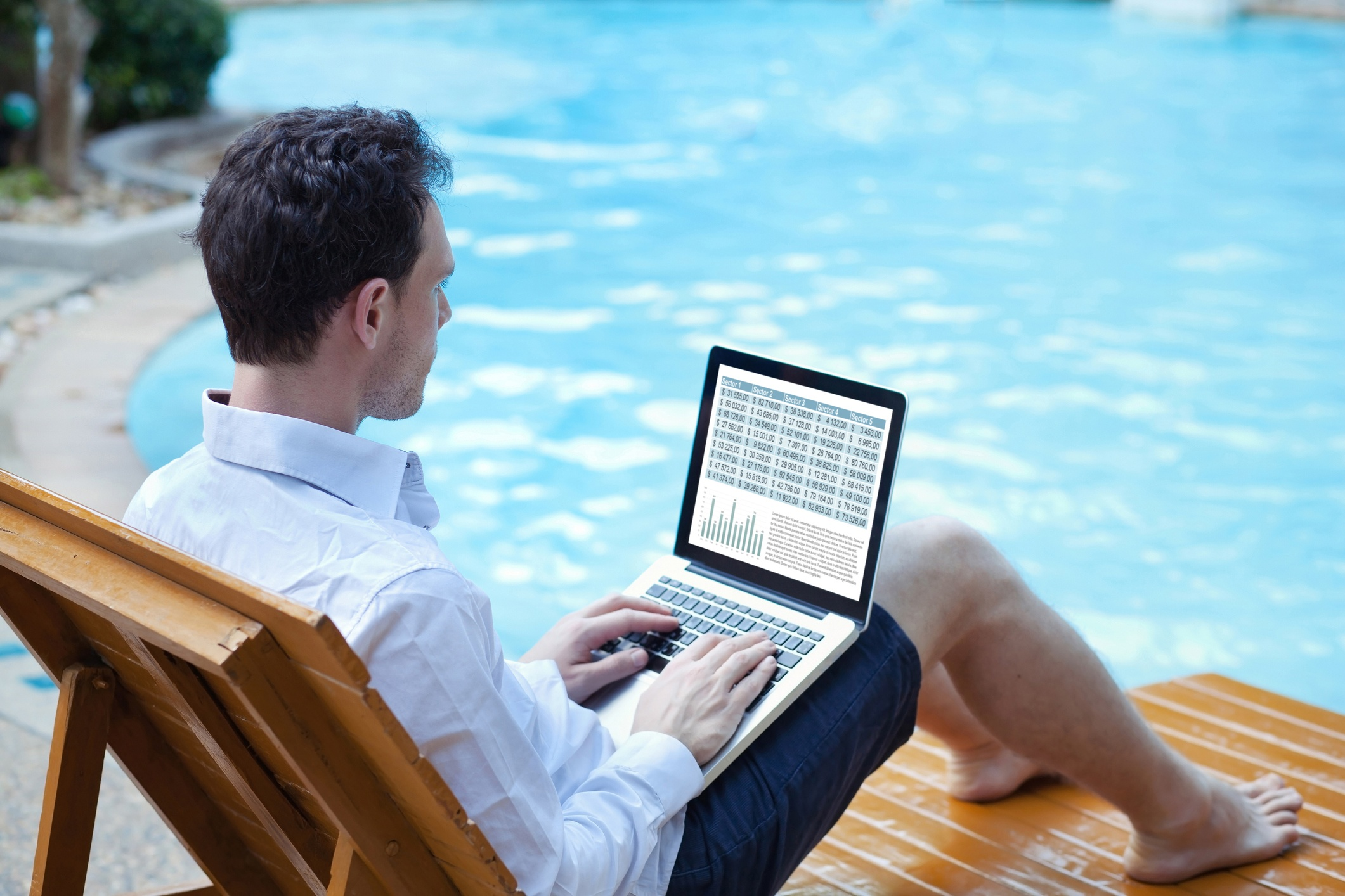 Man by Pool- JConnelly Blog- 5 Communication Tactics to Tackle During the Summer